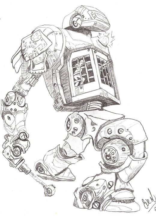 Robots Pencil Drawing 183 Free Image On Pixabay