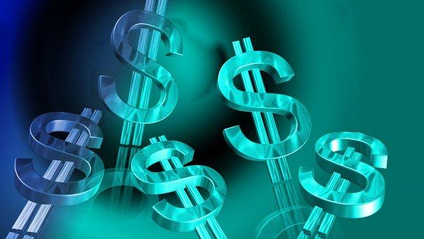 Blue, Dollar, Money, Cash, Currency