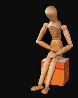 フィギュア, 男, 座る, 腹痛, 腹の痛み, 人形, Holzfigur