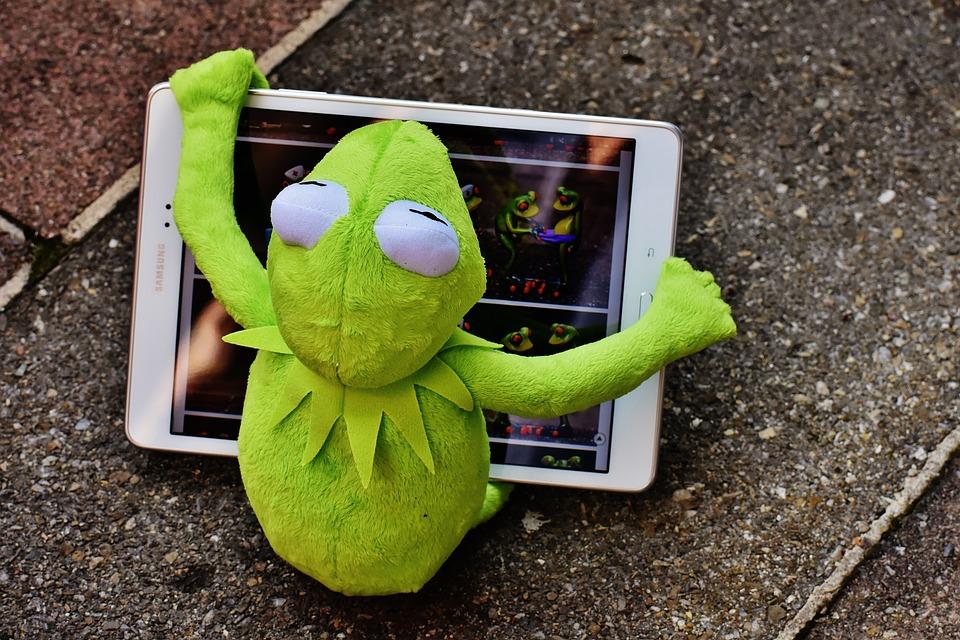 Kermit, Rana, Tablet, Equipo, Figura, Peluche