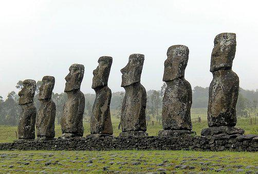 Easter Island, Row, Stone, Faces