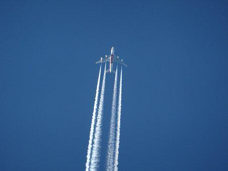 Aircraft, Contrail, Sky, Blue, Clear