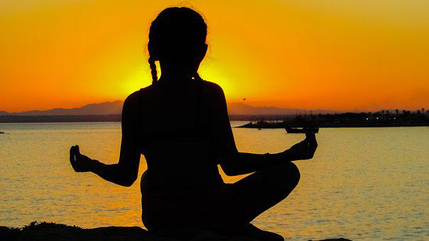 Girl, Sunset, Meditation, Relaxation