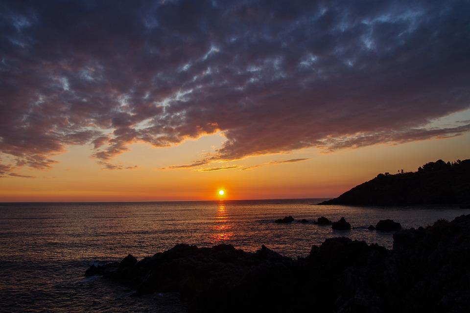 Scalea, Calabria, Italy, Landscape, Sea, Sunset