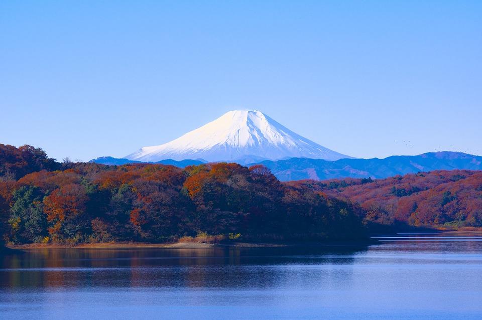 日本, 富士山, 狭山湖, 貯水池, 風景, 世界遺産, 紅葉, ふじさん, 狭山丘陵, 富士, 晴天, 自然