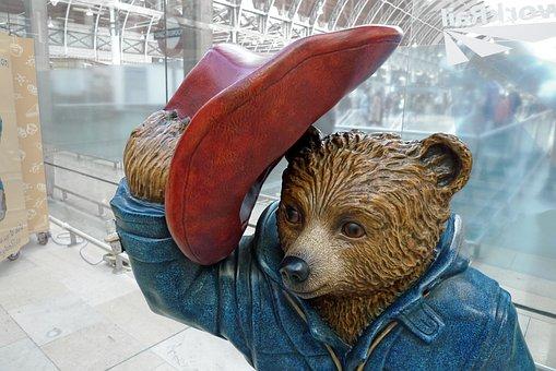 パディントン, クマ, 駅, 像, 肖像画, 見, 後, マーマレード, 帽子