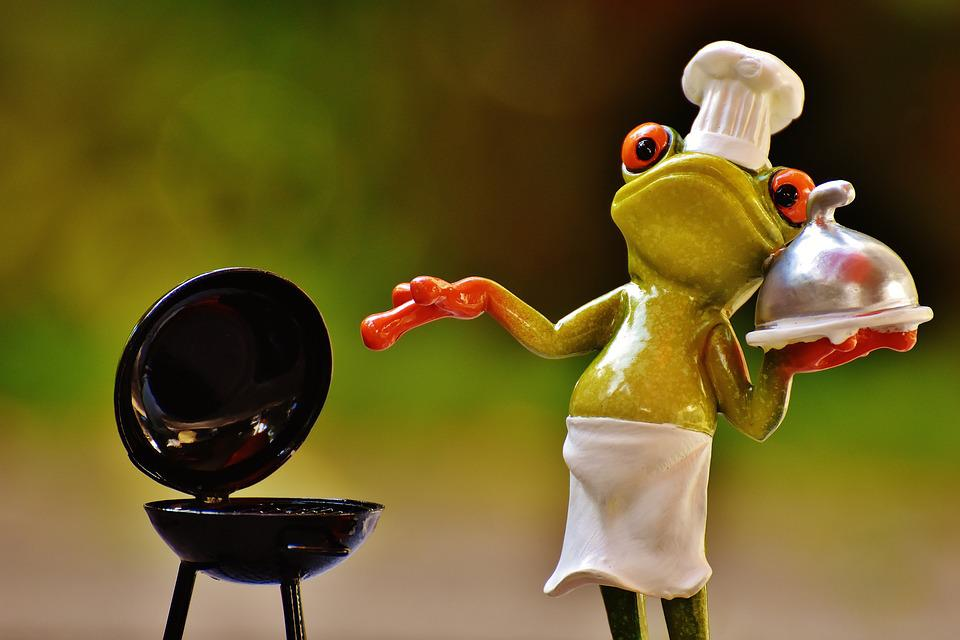 Frosch, Koch, Grill, Figur, Lustig, Grillen, Kochmütze