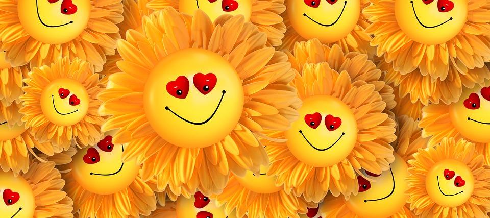 Smiley, Freude, Herz, Liebe, Lächeln, Blume, Gelb