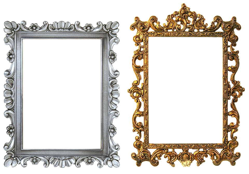 frame carved gold silver frame