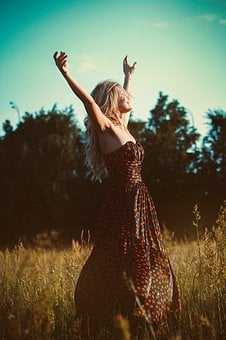 Freedom, Girl, Dress, Hands Up, Blonde