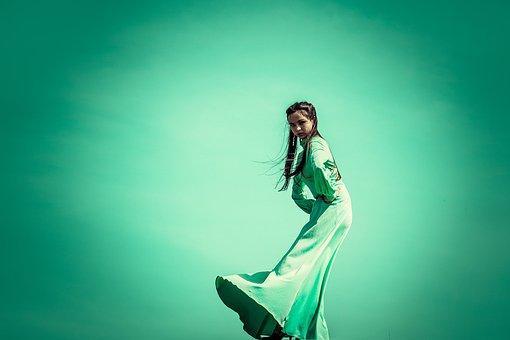 Hijau, Gaun, Di Tepi, Cahaya, Kebebasan