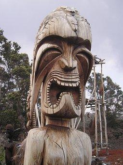 Hawaii, Totem, Legno, Immagine, Tribù