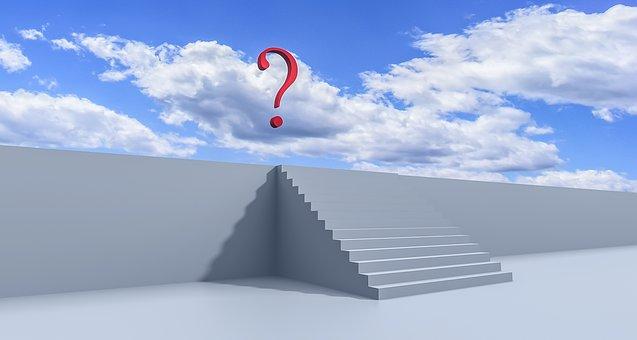 質問, 階段, ソリューション, 意思決定, 記号, 3 D, ホワイト