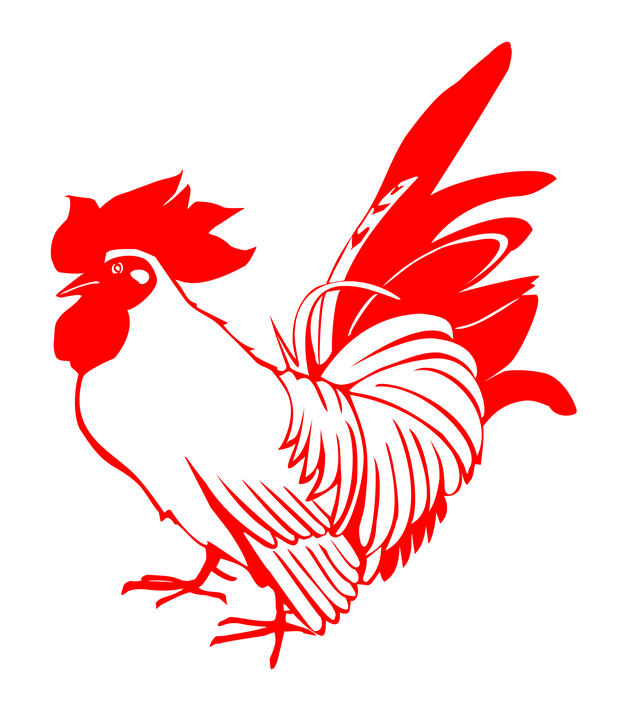 rooster chicken red poultry stamp zodiac signs