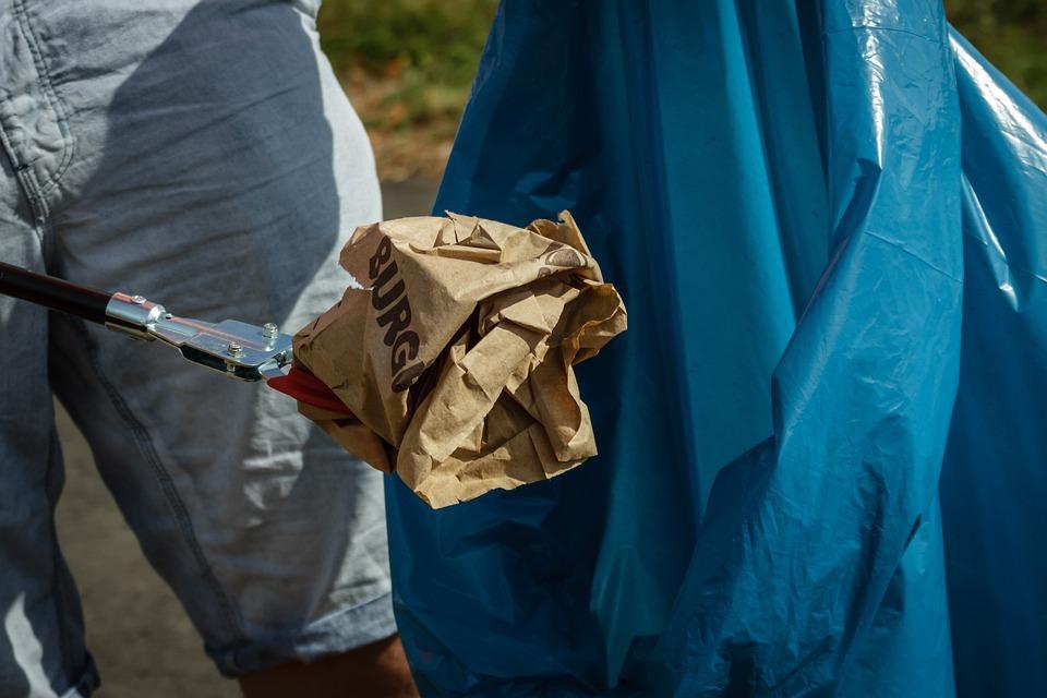 ごみ, 収集, 処分, バッグ, ゴミ袋, 青, ペンチ, グリッパ, アクセス, 紙袋, 詳細