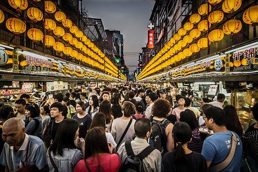 ナイト マーケット, 群衆, 魚介類, 台湾, 基隆市, アジア, 観光, 黄色