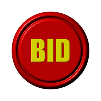 BID written in yellow in a red circle with a black rim to signify AnyTrack takes advantage of ROAS or ROI bidding strategies to lower your CPC and CPAs, and scale your campaigns with total confidence.