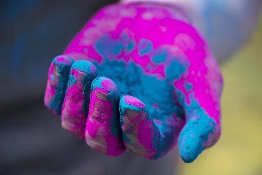 Hand, Rang Barse, Holi, Color, Pink