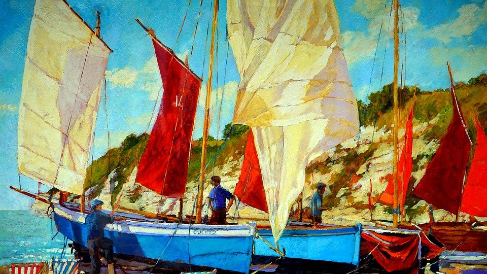 oil painting boat oil painting artistic artwork - Oil Painting