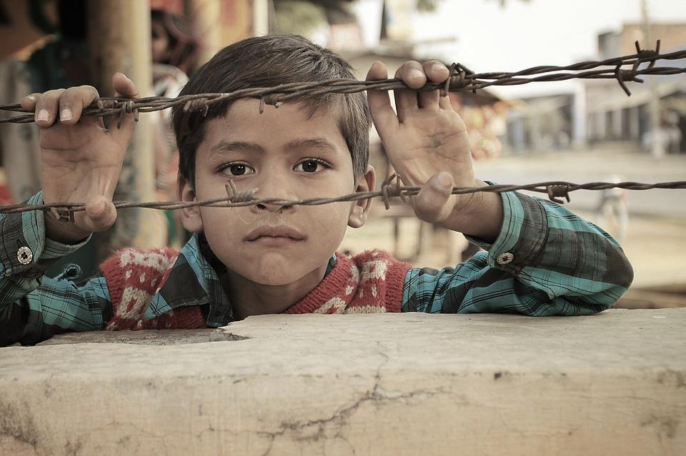 Indian, Child, Barbed Wire, Barrier, Demarcation
