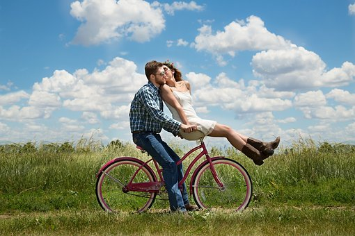 Engagement Couple Romance Bike Happiness T