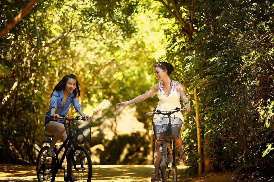 Pige, Cykling, Cykel, Cyklus, Cyklist, Hjelm, Udendørs