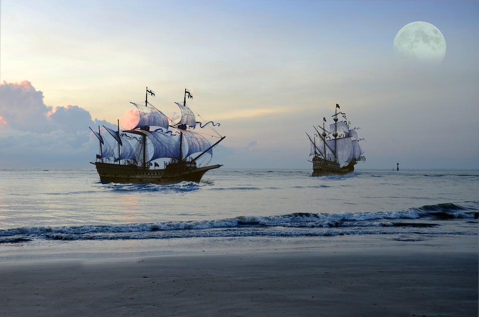 Old pirate ships at sea
