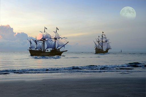 Pirate Ship, Sea, Moon, Fantasy, Ocean