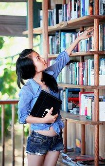 女の子, ライブラリ, 教育, 学生, 学習, 勉強, 女性, 知識, 若いです
