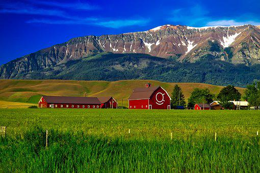 Oregon, Farm, Mountains, Agriculture