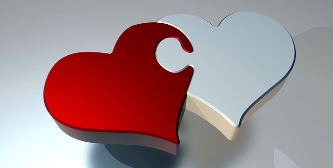 Puzzle, Heart, Love, Two Hearts