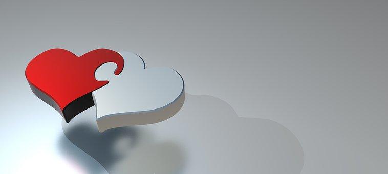 パズル, 心, 愛, 2 つの心, パートナーシップ, 接続, 共有, 3 D
