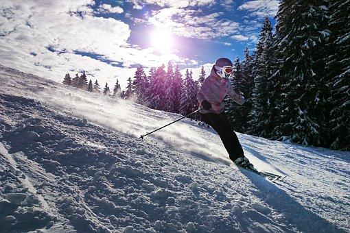 Esquí, Niña, Sol, Snow, Invierno