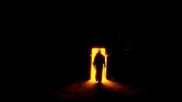 人間のシルエット, 地獄への扉, ゲート, 太陽, 明るい光, 火山の噴火口