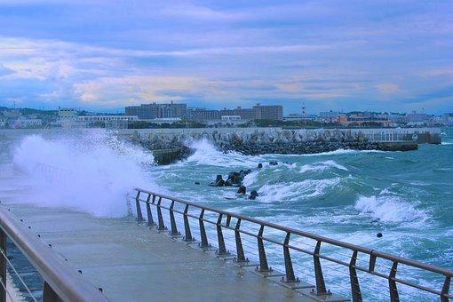 台風, 海, 嵐, 夕方, 大波, 荒波, 海水, 水, 雨, 風, 暴風
