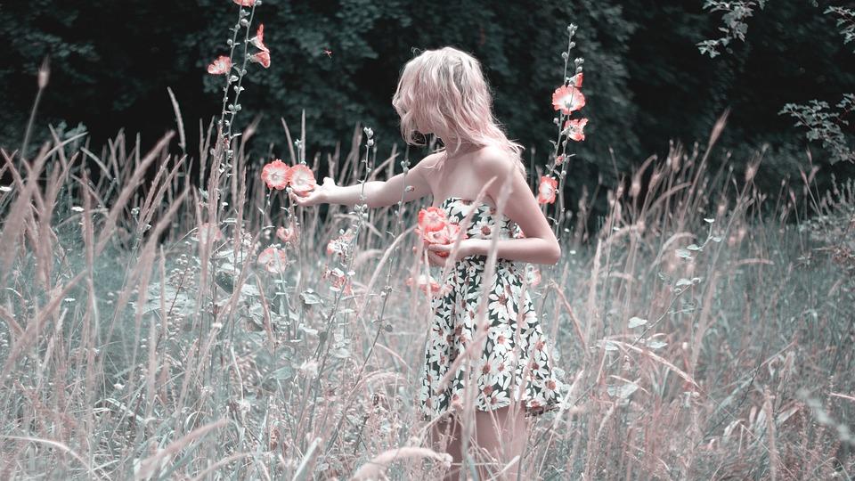 Момиче Събира Цветя, Природата, Лято, Dress, Разцвет