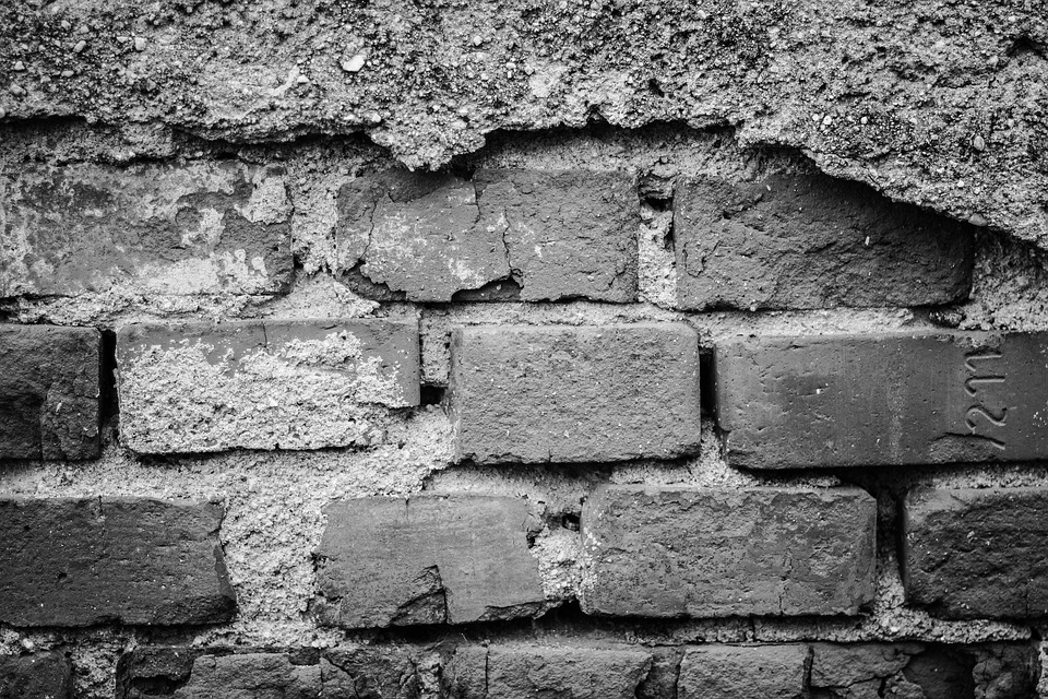Wall Bricks Worn By Old Texture Black And White