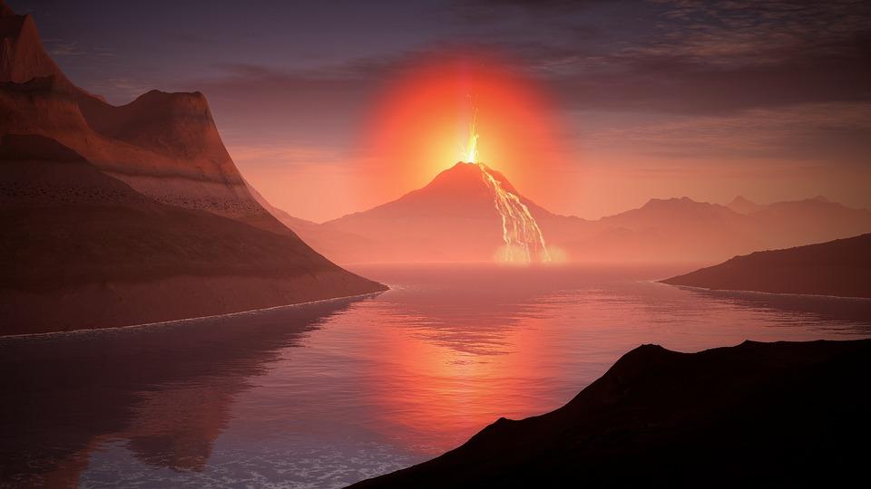 火山, 溶岩, 風景, グロー, 湖, 山, 水, 変成帯, 先史時代, 先カンブリア代, 波, 溶岩流