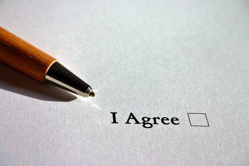 同意します。, 英語, 同意, 契約, クロス, チェック ボックス, ペン