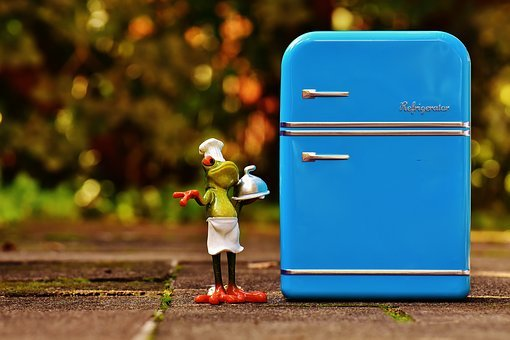 カエル, 料理, 冷蔵庫, 青, フィギュア, おかしい, かわいい, 調理する