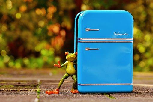 カエル, 冷蔵庫, 青, フィギュア, おかしい, 楽しい, かわいい, 冷蔵庫
