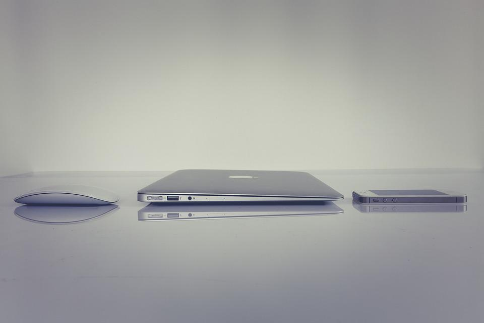 オフィス, Macbook, Iphone, アップル, ノート パソコン, 事務所, ハードウェア