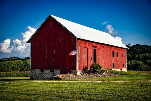 Iowa Red Barn American Flag Wooden Buildin