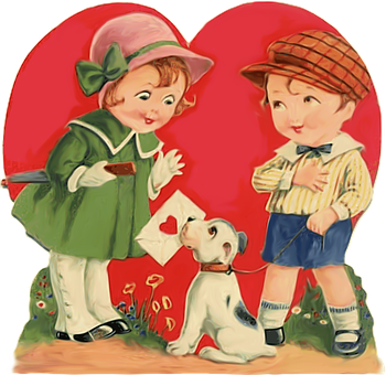 Children, Boy, Girl, Kid, Puppy, Card