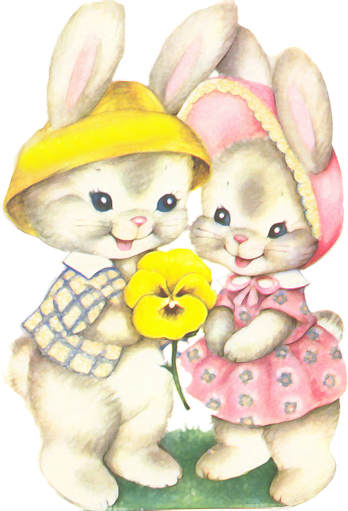 Rabbits, Easter, Casal, Love, Childish, Graceful