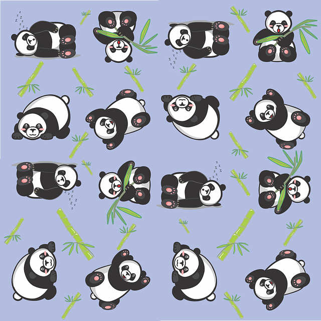 Free Illustration Panda Tile Cute Pattern Blue Free