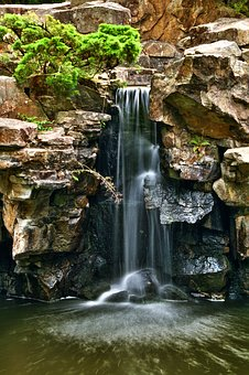 Waterfall, Landscape, Botanical Garden