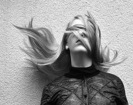 目隠し, ブラインド, 髪, 女の子, 女性, 手が離せない, 髪をなびかせて