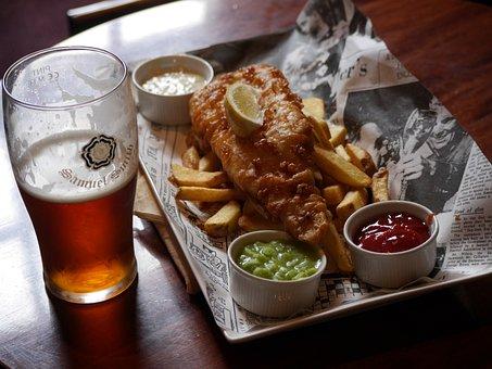Beer, Food, Meal, Fish, Chips, Drink