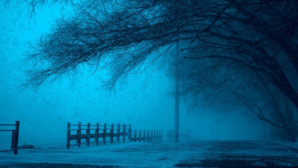 冬, モスクワ, ロシア, センター, クリスマス, 強力な, 降雪, 暗い, 夜, 市, 川, ランタン